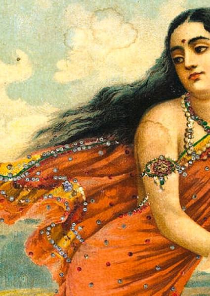 Ganga flies into the sky carrying baby Devavrata