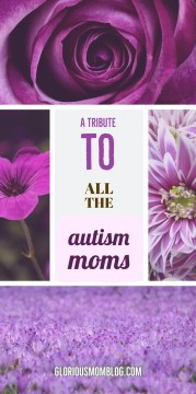 A tribute to all the autism moms: an inside peek at the life of an autism parent and the struggles they face. Read about it at gloriousmomblog.com.