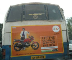 Olx Advertisement on damaged BMTC bus