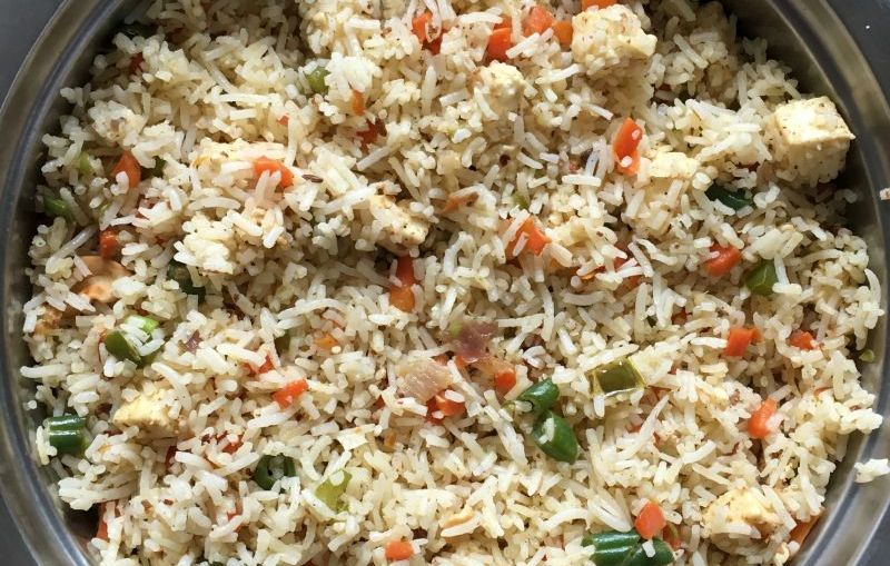 paneer fried rice recipe without tomato