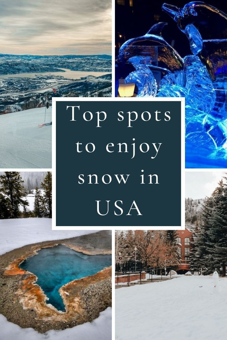 Check out the top places in the US to enjoy snow this winter! Includes favorites like Lake Tahoe, Colorado and Yellowstone!