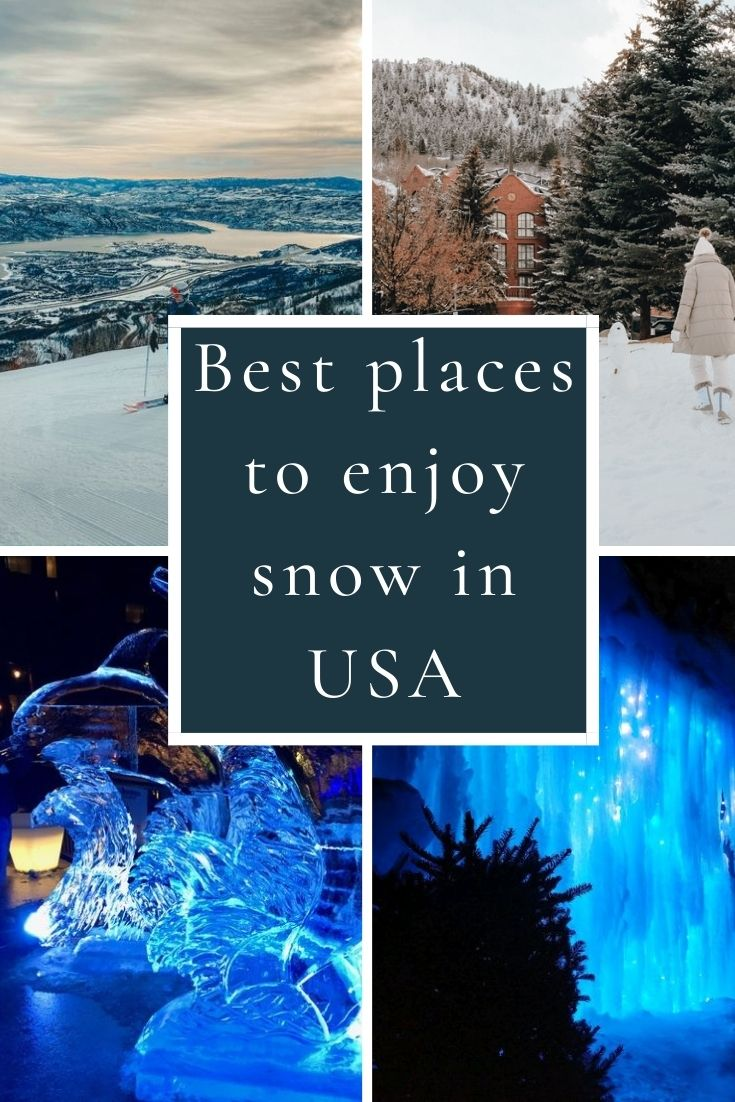 Check out the best places in the US to enjoy snow this winter! Includes favorites like Lake Tahoe, Colorado and Yellowstone!