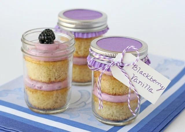 Blackberry Vanilla Cupcakes {in A Jar}