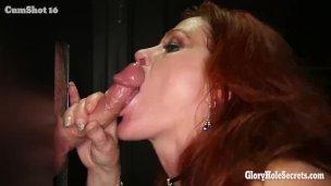 Gloryhole Swallows Cum as Mature Redhead Sucks Cock