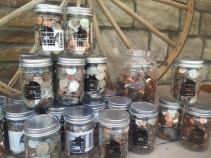 Change the Course fundraising jars. Supplied photos.