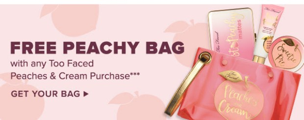 Too Faced Cosmetics Canada Free Peachy Bag with Purchase of Peaches and Cream Product - Glossense