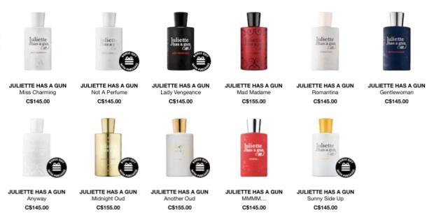 Juliette Has a Gun Canadian Perfume Fragrance Sephora Canada - Glossense