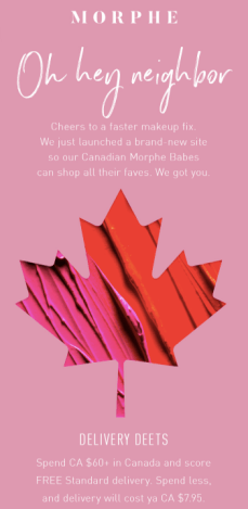 Morphe Canada Now Shipping to Canada Duty and Customs Free - Glossense