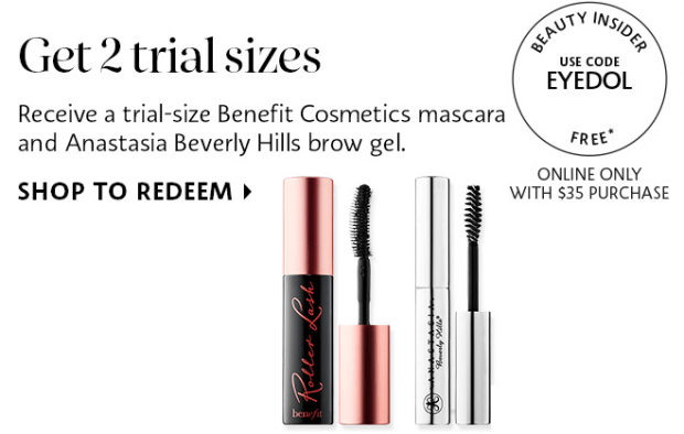 Sephora Canada EYEDOL promo code Free Benefit Rollerlash Mascara and ABH Brow Gel Offer - Glossense