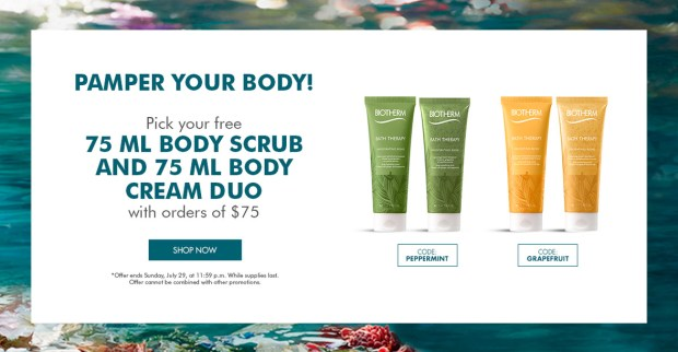 Biotherm Canada Pamper Your Body Free Body Scrub with Purchase - Glossense