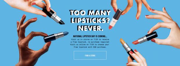 Mac Cosmetics Canada National Lipstick Day July 29 2018 Free Full-size Mac lipstick - Glossense