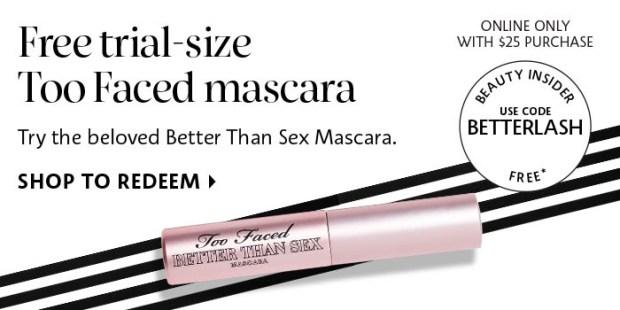 Sephora Canada Canadian Coupon Promo Codes Too Faced Better Than Sex Free Mascara Sample - Glossense