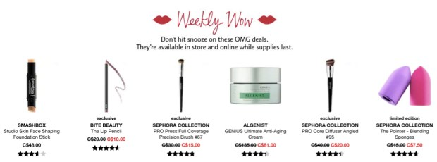 Sephora Canada Week of Wow Weekly Canadian Deals September 27 2018 - Glossense