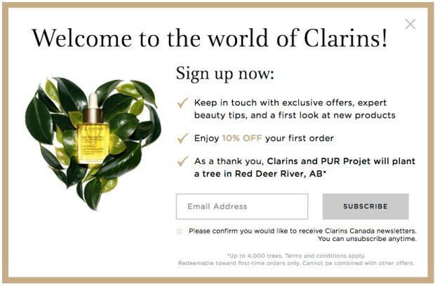 Clarins Canada Canadian Newsletter Offer Sign up Savings Discount Promo - Glossense