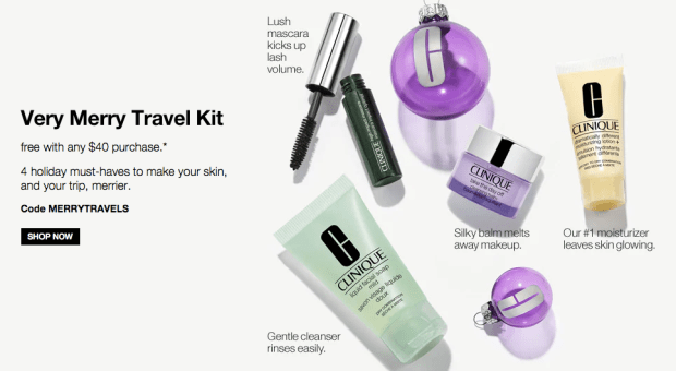 Clinique Canada Canadian Deals Freebies GWP Free Very Merry Travel Kit - Glossense