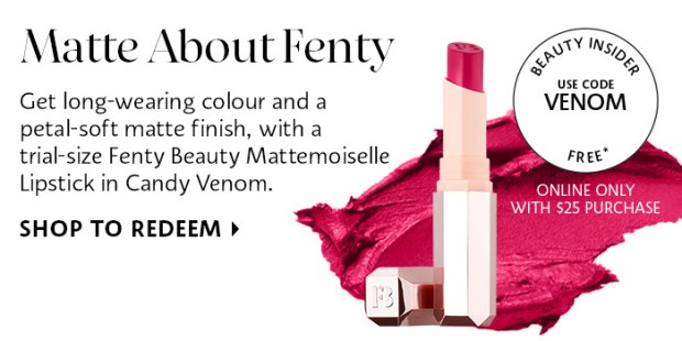 Sephora Canada Canadian Promo Code Free Fenty Beauty Mattemoiselle Lipstick Candy Venom - Glossense