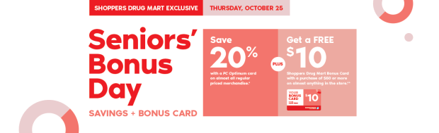 Shoppers Drug Mart Beauty Boutique SDM Canada Canadian Senior Seniors Day Discount Savings October 2018 - Glossense