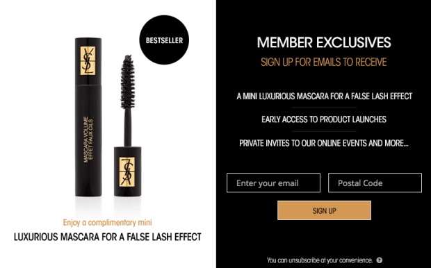 Yves Saint Laurent Canada Canadian Become a YSL Beauty Member Subscribe to Newsletter and Receive a Free Mascara Volume Effect Faux Cils Mini Deluxe Sample - Glossense