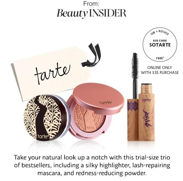 Sephora Canada Beauty Insider Gift November 2018 Rouge VIB Free Canadian Tarte Cosmetics Trio Set Blush Mascara Powder - Glossense
