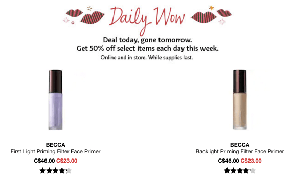 Sephora Canada Canadian Daily Wow Deal Cyber Week November 24 2018 Becca Primers Primer Priming - Glossense