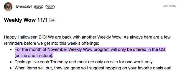 Sephora Canada Canadian Where is What happened to Weekly Wow deals No longer available November 2018 - Glossense