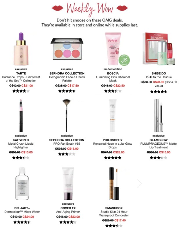 Sephora Canada Week of Wow Weekly Canadian Deals November 29 2018 - Glossense