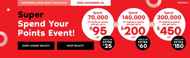 Shoppers Drug Mart Beauty Boutique SDM Canada Super Spend Your PC Optimum Points Event November 23 24 25 26 2018 - Glossense