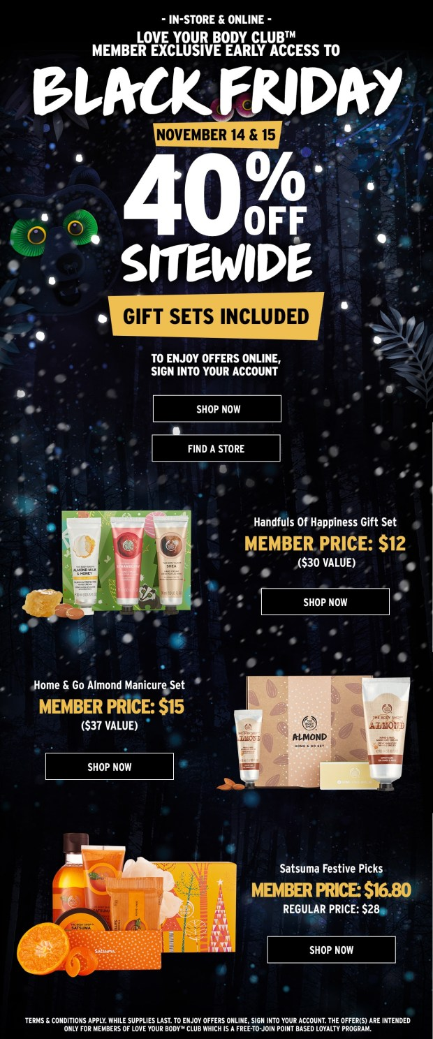 The Body Shop Canada 2018 2019 Canadian Black Friday Cyber Monday Deals Sale Offer Promo Discount - Glossense