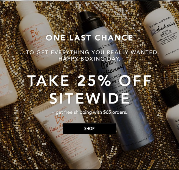 Bumble and Bumble Hair Care Canada 2018 Canadian Boxing Day Sale Deals Free Shipping 2019 - Glossense