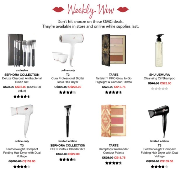 Sephora Canada Week of Wow Weekly Canadian Deals December 13 2018 - Glossense