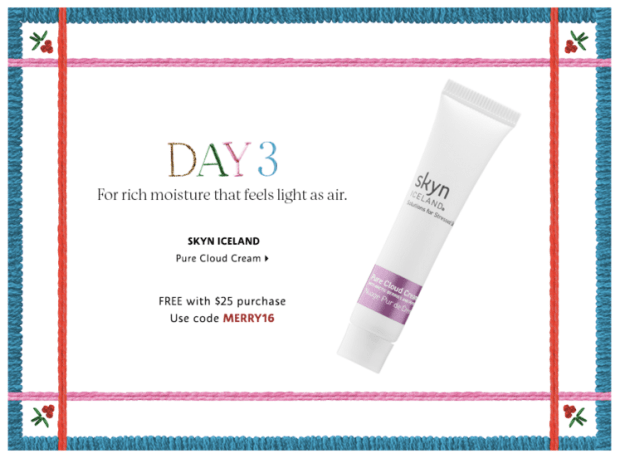 Sephora Canada Merry Mysteries 2018 Canadian Daily Free Item Freebie Freebies Promo Code Coupon Codes Christmas Holiday Beauty Insider BI VIB Rouge Bonus Offer Free Deluxe Sample Samples Mini Mini Day 3 Skyn Iceland Cloud Cream Creme Moisturizer - Glossense