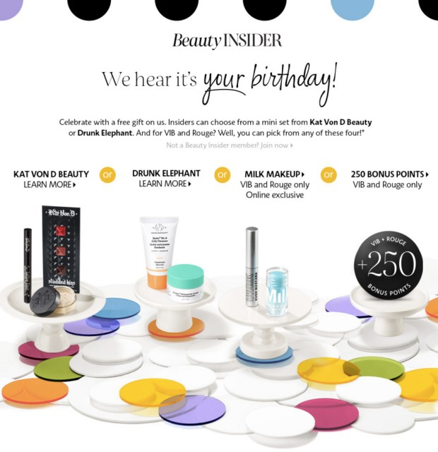 Sephora Canada 2019 Birthday Gift Canadian Free Birthday Gifts Kat Von D Drunk Elephant Milk Makeup Sephora Points Free Benefit Brow Bar Wax Beauty Insider VIB and Rouge - Glossense