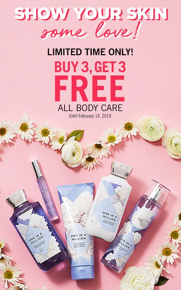 BATH & BODY WORKS 2019 VALENTINE'S DAY PROMO: Buy 3 Body Care