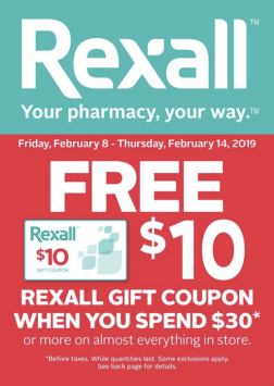 Rexall Pharmacy Canada Canadian Gift Coupon Bonus Cash Bounce Back Card February 2019 - Glossense