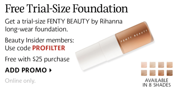 Sephora Canada Canadian Promo Code Coupon Codes Beauty Offer GWP Free Fenty Pro Filtr Foundation Sample Gift with Purchase - Glossense