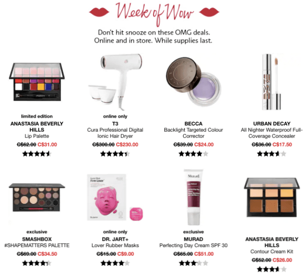 Sephora Canada Week of Wow Weekly Canadian Deals Month Monthly Wow February 14 2019 - Glossense