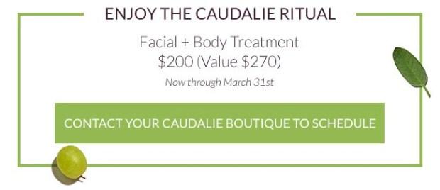 Caudalie Canada Caudalie Boutique Spa Canadian Service Facial plus Body Treatment Deal Deals Spa Savings Beauty Offer - Glossense