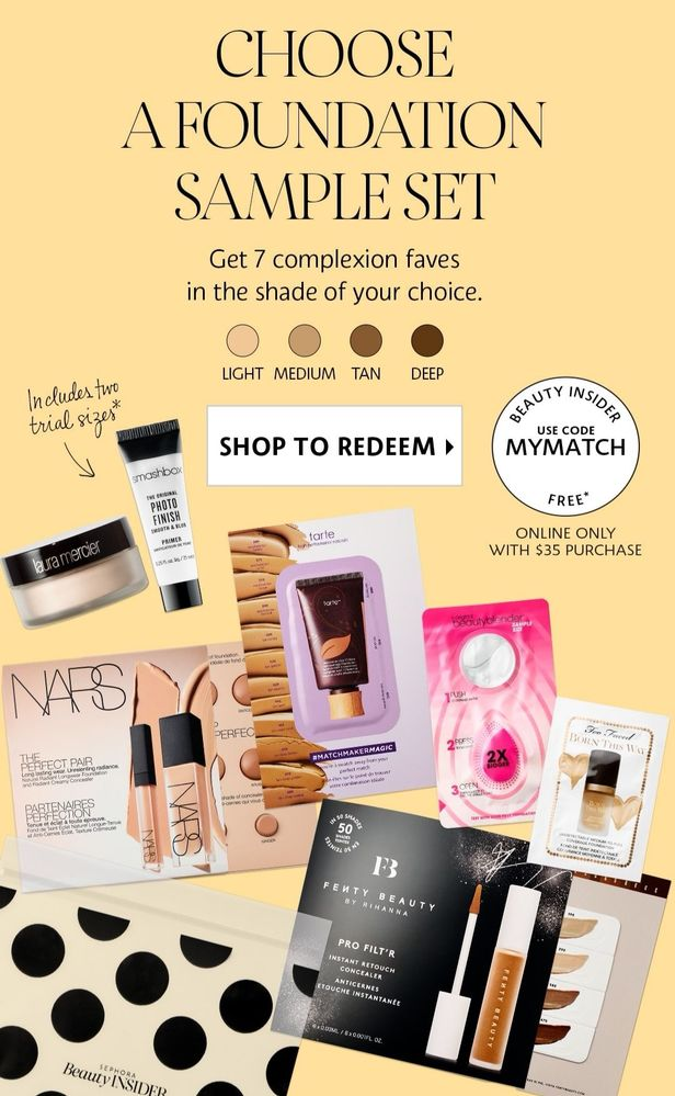 Sephora Canada MYMATCH Canadian Promo Code Coupon Codes Beauty Offer Free Foundation Sample Set Plus Laura Mercier Powder and Smashbox Primer Deluxe Mini Trial Sizes - Glossense