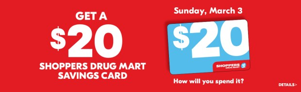 Shoppers Drug Mart Beauty Boutique SDM Canada Canadian In-store March 3 2019 $20 dollar Savings Card Offer - Glossense