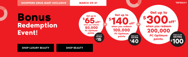 Shoppers Drug Mart Beauty Boutique SDM Canada Super Spend Your Canadian PC Optimum Points Redemption Event March 29 31 2019 - Glossense