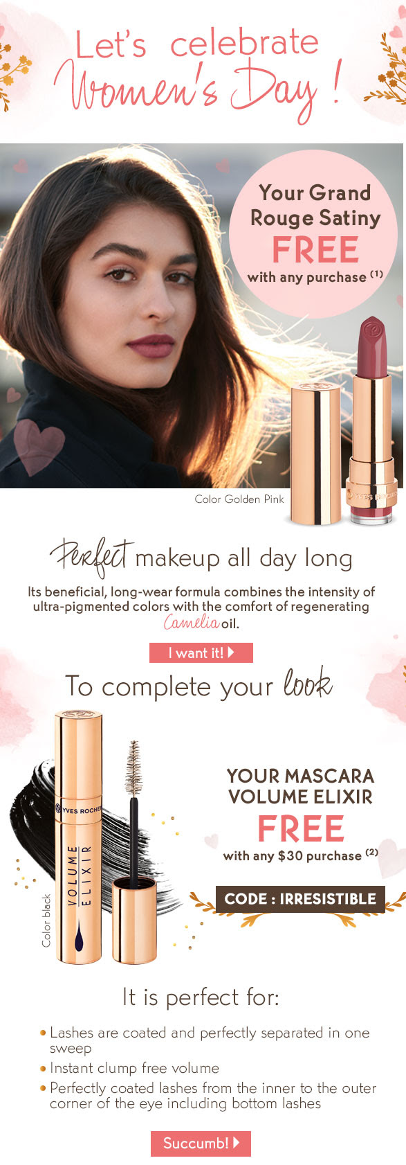 Yves Rocher Canada International Women's Day 2019 Free Rouge Satiny Lipstick GWP Offers Mascara Canadian Promo Code Coupon Code - GlossenseYves Rocher Canada International Women's Day 2019 Free Rouge Satiny Lipstick GWP Offers Mascara Canadian Promo Code Coupon Code - Glossense