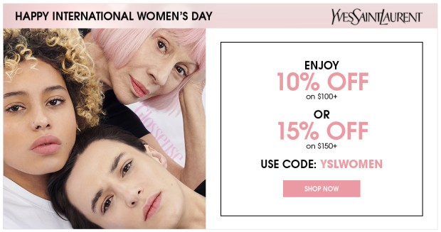 Yves Saint Laurent Canada YSL Beauty Canadian International Women's Day 2019 Deals Sale Free GWP Gift with Purchase Makeup Bag Free Lipstick Promo Code Coupon Code Offer Discount Savings - Glossense