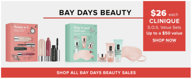 Hudson's Bay Canada HBC The Bay Bays Days Beauty Exclusive Clinique Value Sets Makeup Skincare Cosmetics SOS Sets Only 26 Spring April 2019 Canadian Deals & Sale - Glossense