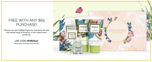 L'Occitane en Provence Canada Canadian Herbae Fragrance Spring 2019 Gift with Purchase GWP Free Perfume Hand Cream Shower Gel Set Boxed Set - Glossense