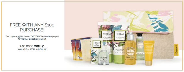 L'Occitane en Provence Canada Mother's Day 2019 Canadian GWP Gift with Purchase Spring Time Beauty 2019 Radiance Boost Promo Code Coupon Codes - Glossense