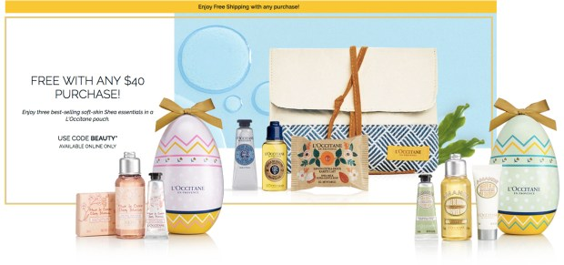 L'Occitane en Provence Canada Shop Easter 2019 Beauty Eggs Canadian GWP Offer Promo Code Coupon Codes Free Shea Set Free Shipping - Glossense