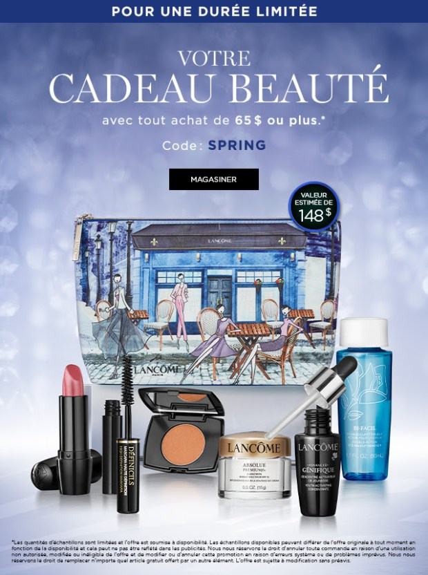 Lancome Canada Canadian GWP Freebies Free Spring Gift with Purchase 2019 Gift Set Makeup Limited Edition Pouch April 2019 Beauty Bonus - Glossense