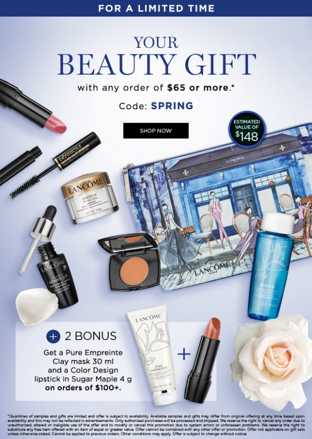 Lancome Canada Easter Canadian GWP Freebies Free Spring Gift with Purchase 2019 Gift Set Makeup Limited Edition Pouch April 2019 Two Extra Beauty Bonus Items Products - Glossense.jpg