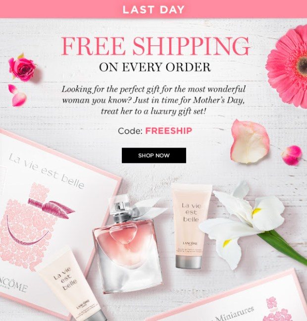 Lancome Canada Free Canadian Shipping Promo Code Coupon Codes Beauty Offer Mother's Day 2019 Promotion - Glossense