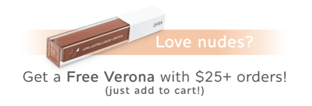 Ofra Cosmetics Canada Canadian GWP Beauty Offer Free Verona Nude Liquid Lipstick Gift with Purchase - Glossense